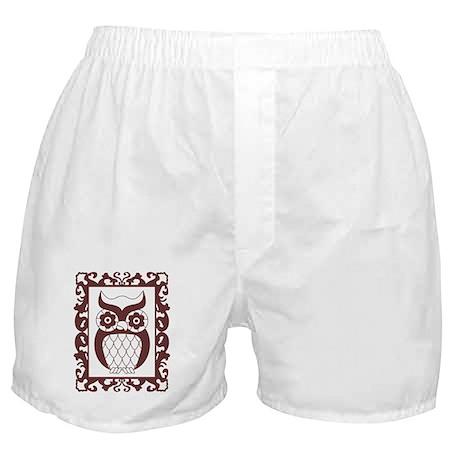 Retro Style Framed Owl Boxer Shorts