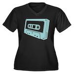 Blue Cassette Tape Women's Plus Size V-Neck