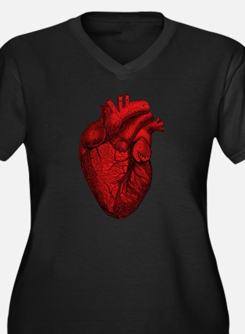 Anatomical Heart Women's Plus Size V-Neck T-Shirt