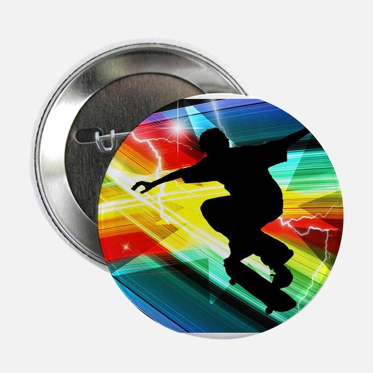 """Skateboarder in Criss Cross L 2.25"""" Button"""
