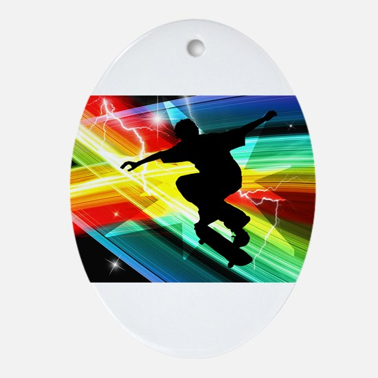 Skateboarder in Criss Cross L Ornament (Oval)