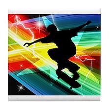 Skateboarder in Criss Cross L Tile Coaster