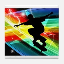 Skateboarder in Criss Cross L Tile Coaster