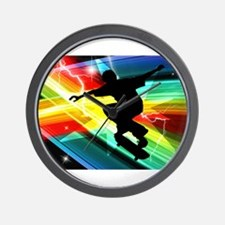 Skateboarder in Criss Cross L Wall Clock
