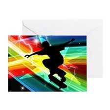 Skateboarder in Criss Cross L Greeting Card