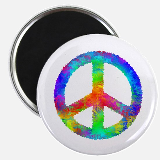 Distressed Rainbow Peace Sign Magnets