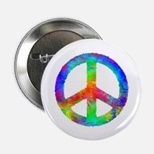 """Distressed Rainbow Peace Sign 2.25"""" Button"""
