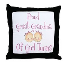 Proud Great Grandma Girls Throw Pillow