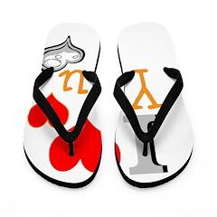 OYOOS I Love Yhu Heart design Flip Flops