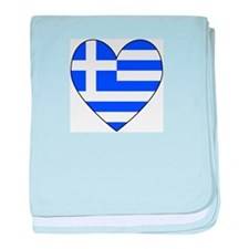 Greek Flag Heart baby blanket