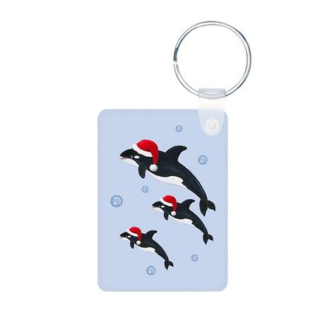 Santa - Whale Aluminum Photo Keychain