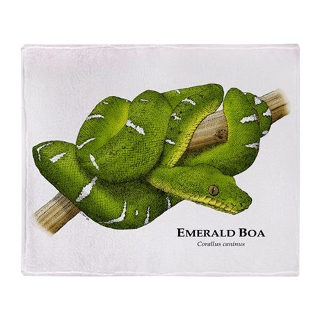 Emerald or green tree boa throw blanket by wildlifearts - Emerald green throw blanket ...
