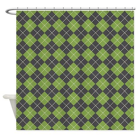 Argyle Green Shower Curtain