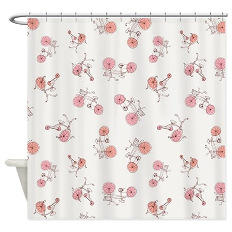 Bicycles White Shower Curtain