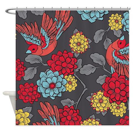 Bird Romantic Grey Shower Curtain