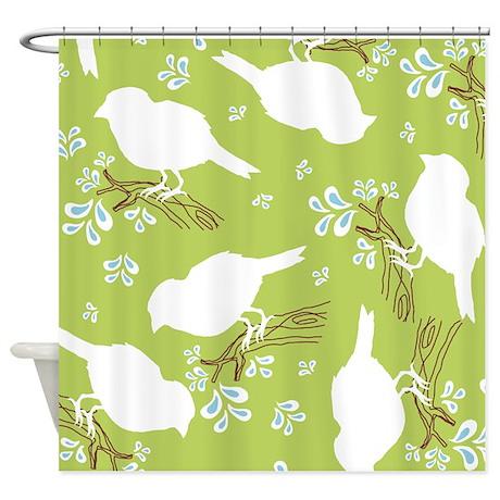 Bird Silhouette Green Shower Curtain