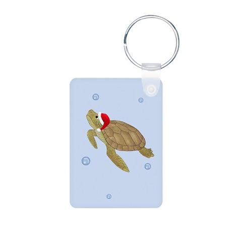 Santa - Christmas Turtle Aluminum Photo Keychain
