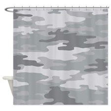Camo Grey Shower Curtain