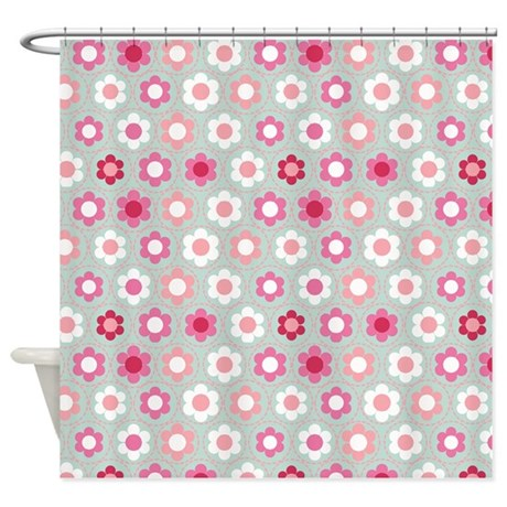 Dot Flower Pink Peach Shower Curtain by Admin CP