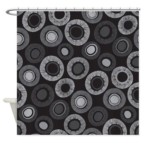 Dot Pattern Black Shower Curtain