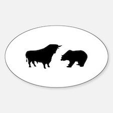 Bull bear Sticker (Oval)