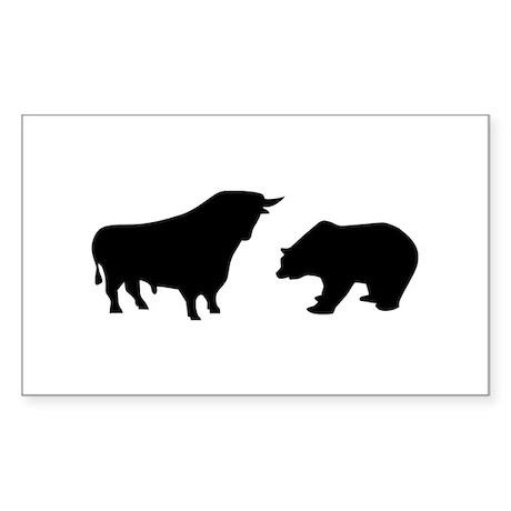Bull bear Sticker (Rectangle)