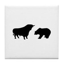 Bull bear Tile Coaster