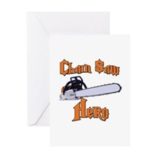 Chain Saw Hero Chainsaw Greeting Card