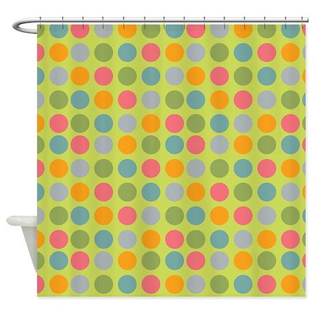 Dots Light Green Shower Curtain By Admin Cp45405617