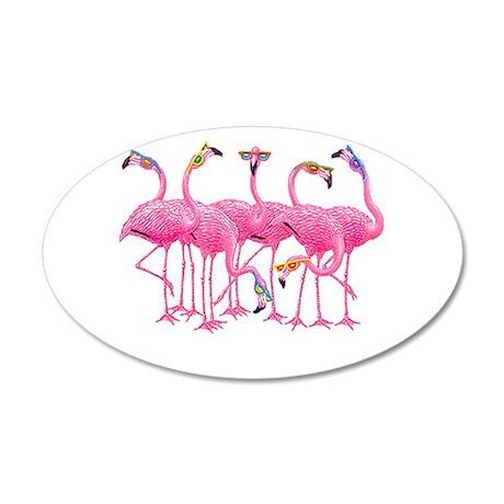 Cool Flamingoes 22x14 Oval Wall Peel