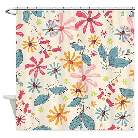 Flower Botanical Cream Shower Curtain