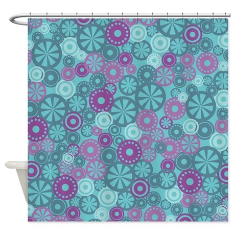 Flower Dot Layer Blue Purple Shower Curtain
