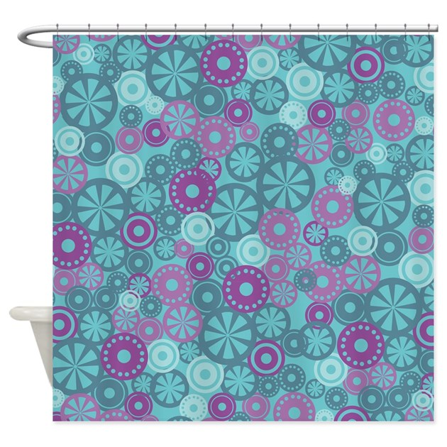 flower dot layer blue purple shower curtain by admin