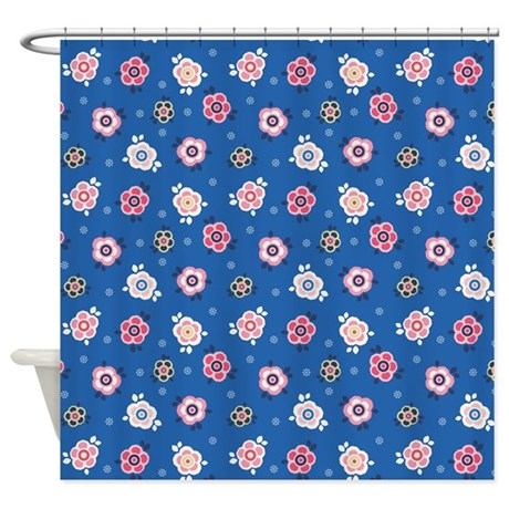 Flower Jeans Blue Shower Curtain
