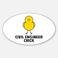 Civil Engineer Chick Sticker (Oval)
