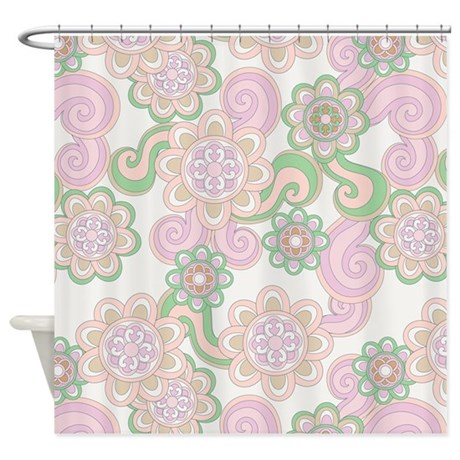 Flower Retro Green Lilac Shower Curtain