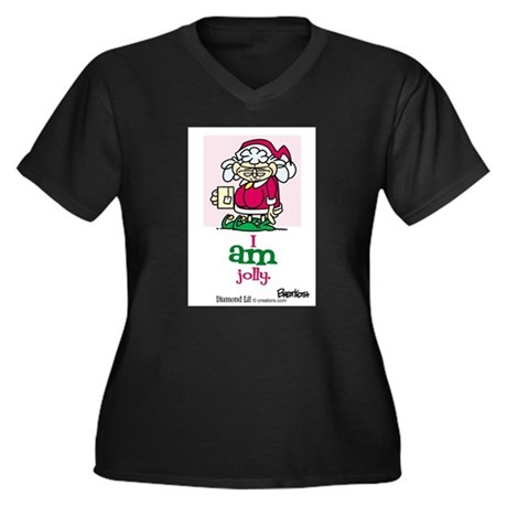 I AM Jolly Women's Plus Size V-Neck Dark T-Shirt