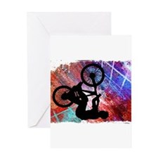 BMX on Rusty Grunge with Edges Greeting Cards