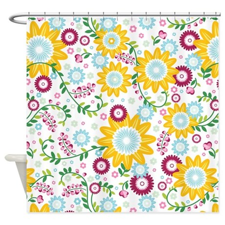 Flower Vines Yellow Shower Curtain