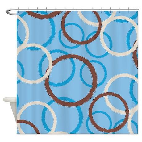 Geo Circles Blue Shower Curtain