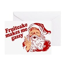 Fruitcake Makes Santa Gassy Greeting Card