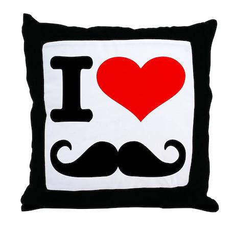 I love mustache Throw Pillow