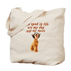 Dog and music Tote Bag