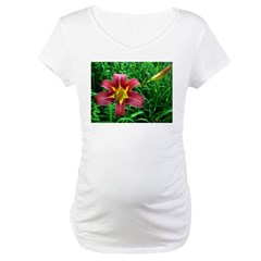.red daylily. Maternity T-Shirt