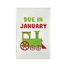 Christmas Train January Rectangle Magnet