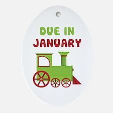 Christmas Train January Ornament (Oval)