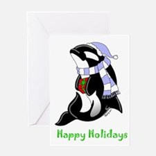 Christmas Orca Greeting Card