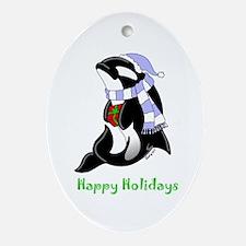 Christmas Orca Ornament (Oval)