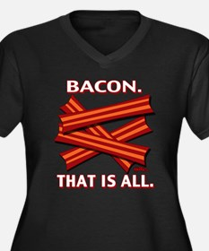 Bacon. That is all. Women's Plus Size V-Neck Dark