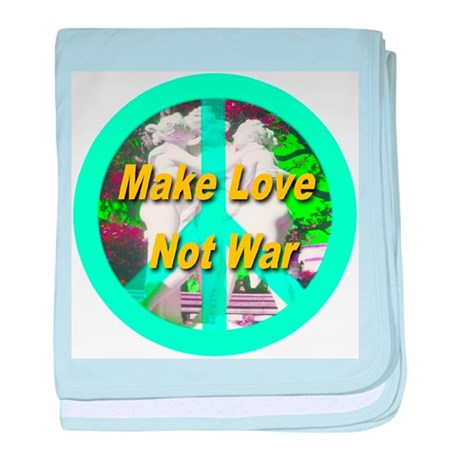 Make Love Not War Peace Symbo baby blanket